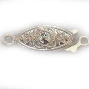 Fish Clasp: Imprinted design with flower, antique silver.