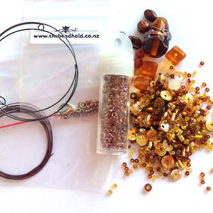 Youth Bead and Finding Pack: Ambers with brown feature seeds