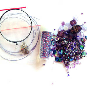 Youth Bead and Finding Pack: Purple with purple feature seeds