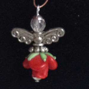 KITSET: Christmas Angel - Red bud with silver