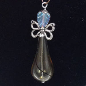KITSET: Christmas Angel - Amber/black/clear blown glass bead