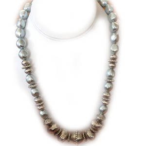KIT: Elegant Necklace, lt bluey grey and silver. Shaped pearls.