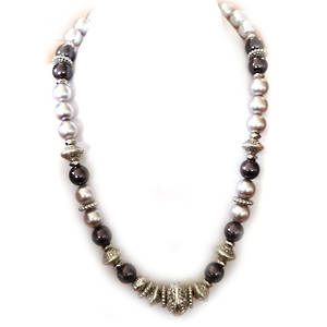KIT: Elegant Necklace, silver, lt and dk grey
