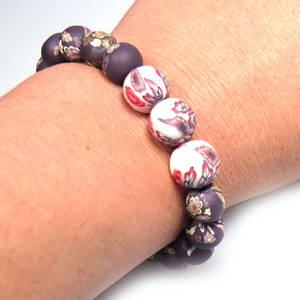 KITSET, fimo stretch bracelet, brown with ruby/white accent trio