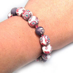KITSET, fimo stretch bracelet, ruby/white with brown accents
