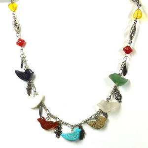 Linked Chain Necklace Kitset, semi-precious dove
