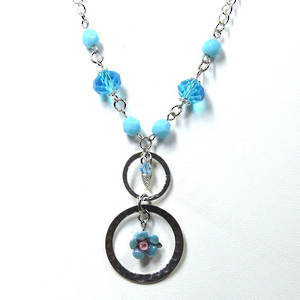 Linked Chain Necklace Kitset, blue flower