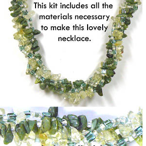 KITSET: Multi strand necklace, green and yellows