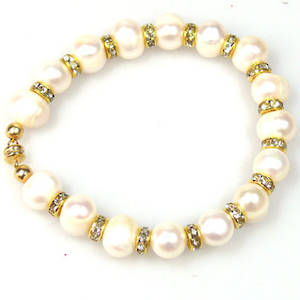 KITSET: Freshwater Pearl Bracelet, pearls alternating with gold spacers