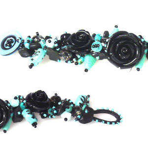 Rose Bracelet Kit, Turquoise and Black ONE LEFT