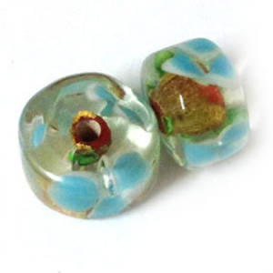 Chinese lampwork short barrel, transparent with red and  gold foil core, aqua flowers