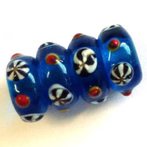 Chinese lampwork large barrel, transparent capri blue with raised markings