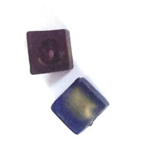 Chinese Lampwork, Frosted Tanzanite Cube with Gold Lining