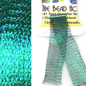 Italian Metallic Mesh Ribbon, Emerald