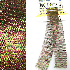 Italian Metallic Mesh Ribbon, Green/Red two tone