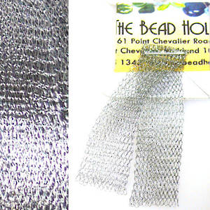 Italian Metallic Mesh Ribbon, Silver Grey