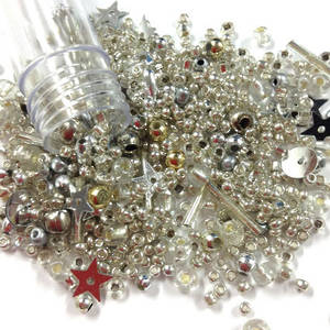 NEW! Chinese Seed/Sequin Bead Mix: Silvered