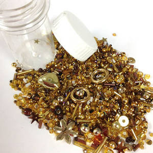 NEW! Chinese Seed/Sequin Bead Mix: GOLD RUSH