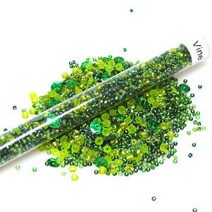 Chinese Seed Bead Mix - greens