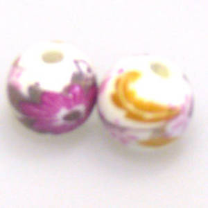 Porcelain Round Bead, 9mm. Teal, yellow and green flower and leaf pattern.