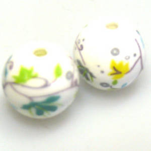 Porcelain Round Bead, 16mm.  Delicate teal, ywllow and grey flower and leaf pattern.