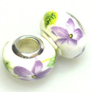 Pandora Style Porcelain Bead, Violet and Green Floral