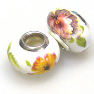 Pandora Style Porcelain Bead, Dusky pinks, Yellow and Green Floral