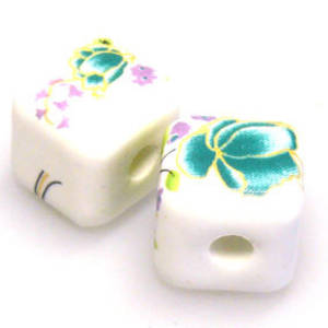 Porcelain Cube, 12mm, teal, priple and green floral