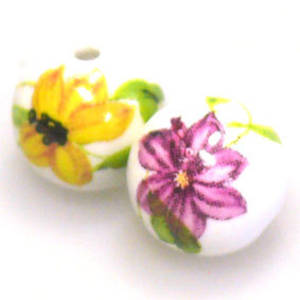 Porcelain Round Bead, 12mm. Dark Pink, yellow, green flower and leaf pattern