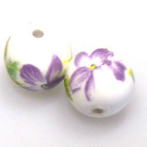 Porcelain Round Bead, 12mm. Violet and green flower and leaf pattern.