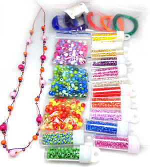 Kids Party Pack - knotted necklace and stretch bracelet. 10 -12 children
