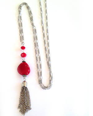 NEW KIT: Tassel Pendant Necklace, red