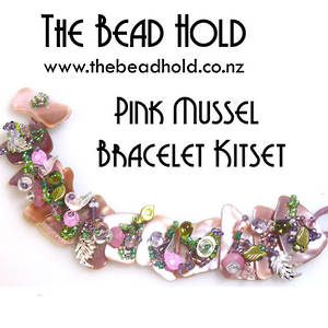 Pink Mussel Bracelet Kitset, pinks/greens, small/med pieces