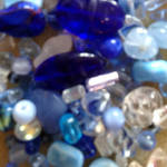 Pressed Glass Bead MIX, deeper blues