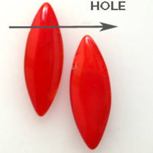 Dagger Bead, 8mm x 24mm: Opaque Red