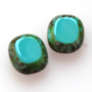 Window Bead, 14mm x 12mm - Turquoise