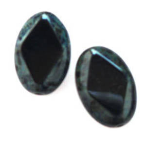 Window Bead, 12mm x 16mm - Jet, faceted
