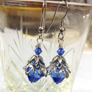 Sapphire Swarovski and Enamel Earring, one pair