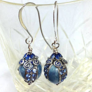 Blue Enamelled Earring, one pair