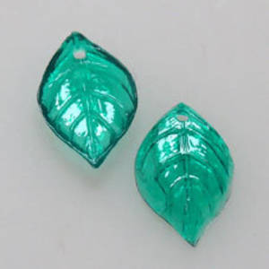 NEW! Acrylic Leaf, 9mm x 15mm - Darker Green