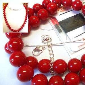 KITSET, Pearl Necklace, 10mm red shell pearls, black silk thread