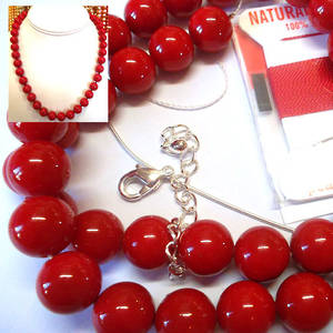 KITSET, Pearl Necklace, 10mm red shell pearls, red silk thread