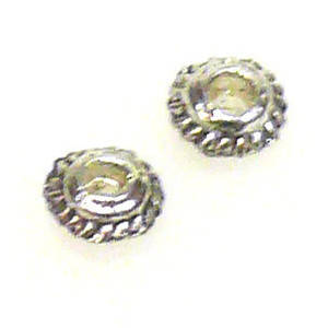 Metal Spacer: 4mm, lined edge - antique silver