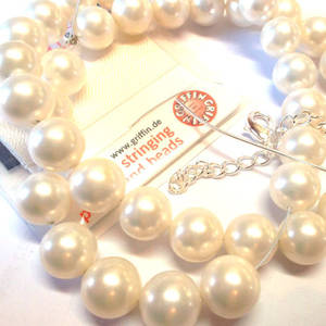 KITSET, Pearl Necklace, 10mm white shell pearls, white silk thread